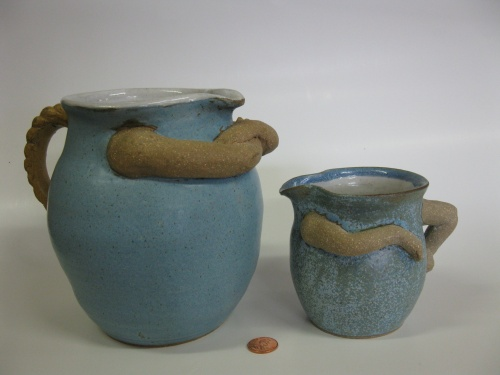 MOTHER AND DAUGHTER PITCHERS--POTS with ARMS