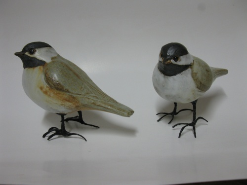 stoneware chickadee with flexible wire legs